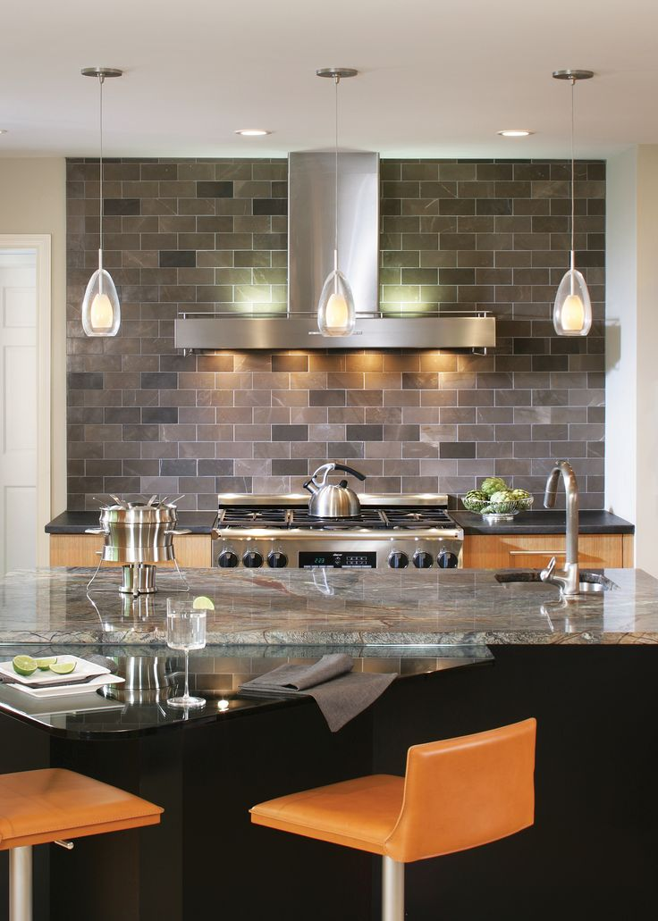 Lbl Lighting S Tear Si Coax Pendants Are Featured In This Industrial Kitchen They Re Made Of Opal Cased Glass Enclosed In Mouth Blown Transparent Teardrop