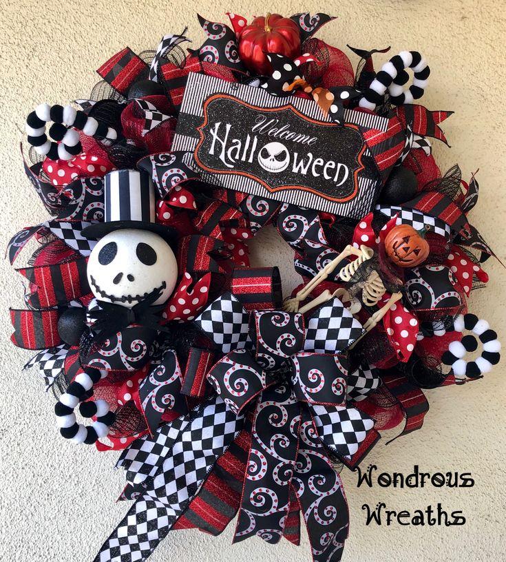Jack Skellington wreath with cute Jack head, glittery sign
