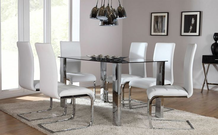 The Orion & Perth Glass & Chrome Dining Set (White) At