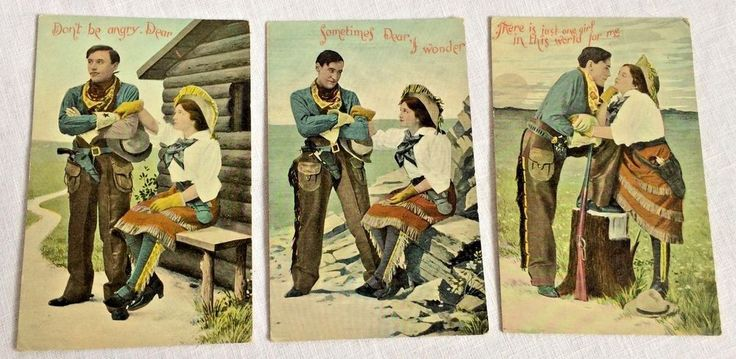 3 Cowboy Cowgirl Romantic Humor Postcards Lithos 1908 Postmark
