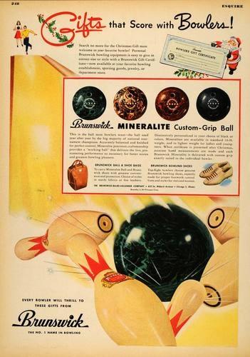 1947 Ad Brunswick Mineralite Bowling Balls Christmas Original Advertising | eBay