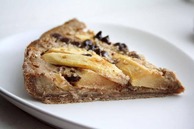 Tarte pomme-chocolat-sésame