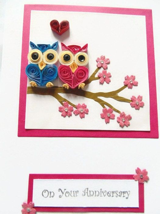 Ready to post! 1 available.  Cute owls Anniversary card with hand quilled owls. A lovely unique quilled card for a couple on their Anniversary.