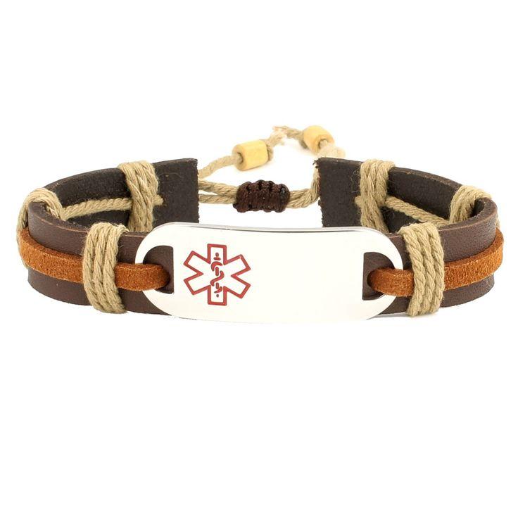 Epic Medical Alert Leather Bracelet