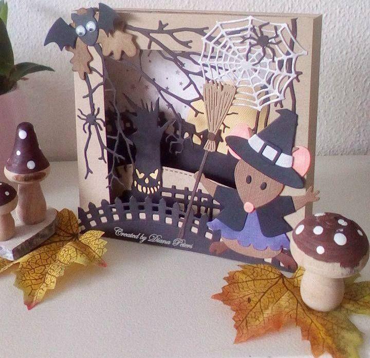Halloween scene met de leuke muis dies en andere van o.a #Mariannedesign,#Elinepellinkhof #Lawnfawn #Halloween #card