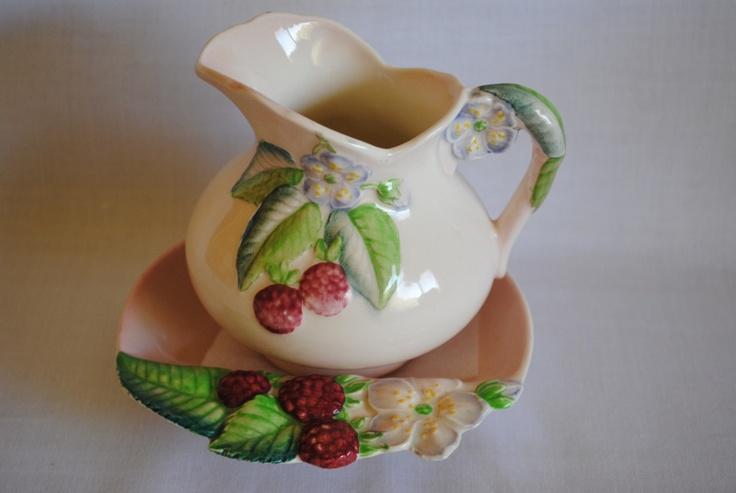 Raspberry : Pink : Milk Jug & Butter Dish