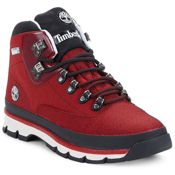 Timberland Euro Hiker Ankle Boots ($130) ❤ liked on Polyvore featuring men's fashion, men's shoes, men's boots, red, timberland mens shoes, mens lace up shoes, mens fur lined ankle boots, mens red shoes and mens round toe shoes