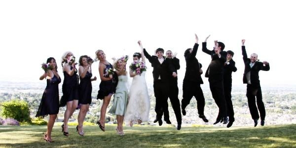 wedding and hi 5 jump