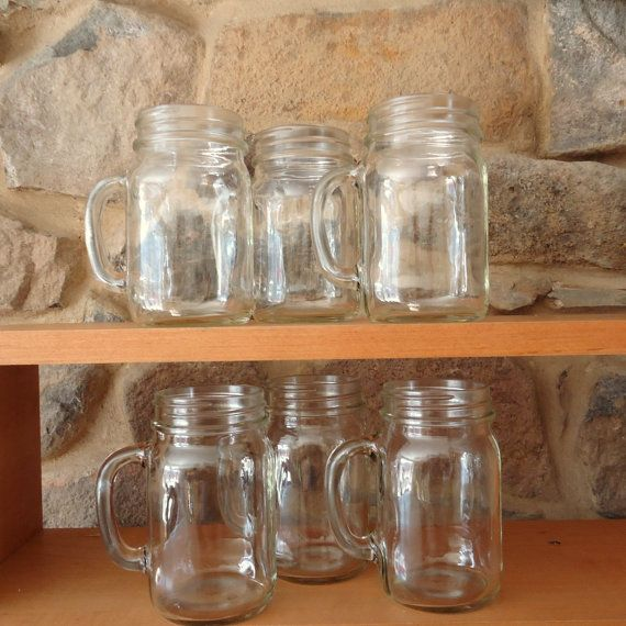 Mason Jars with Handles.... for the wedding party... except mine & Bs which r wine glasses made out of jars