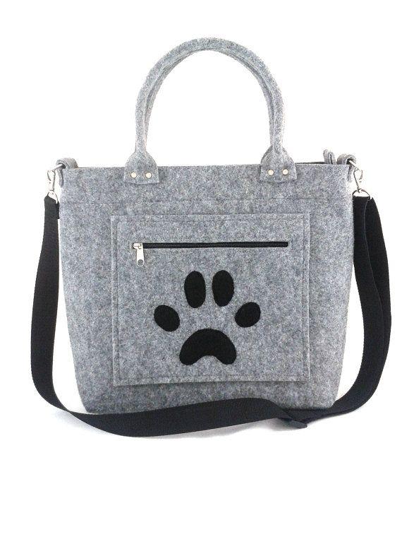 Handbag Felt purse Paw bag Bag for women Grey bag by Torebeczkowo, #HandbagFelt