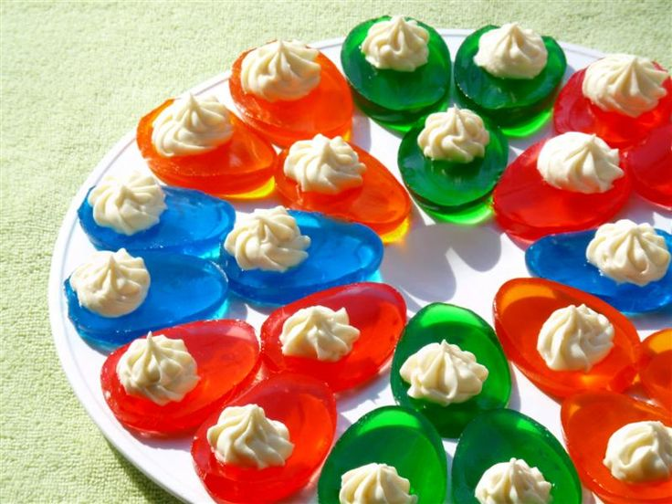 "Jello ""Deviled"" Eggs with whipped cream..  Thinking ""can you add booze"""