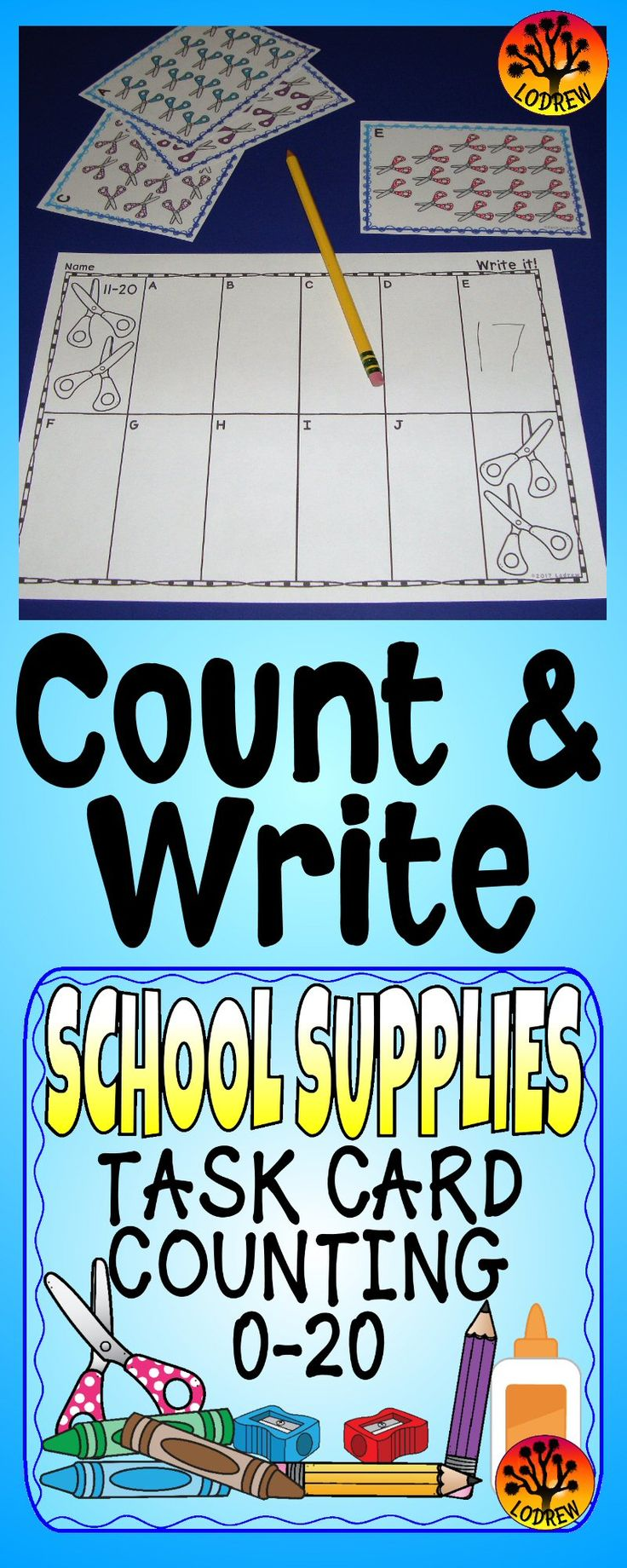 How To Eat Fried Worms 130 Pages Of School Supply Counting Task Cards And  No Prep