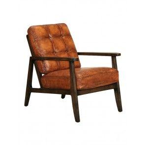 Vintage karmfåtölj läder Carter brown