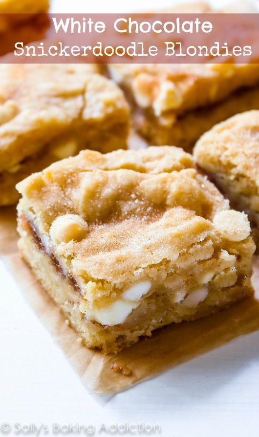 White Chocolate Snickerdoodle Blondies are a must make - a cross between a chewy blondie, a soft cinnamon sugar cookie, and a buttery cake! Recipe by @sallysbakeblog