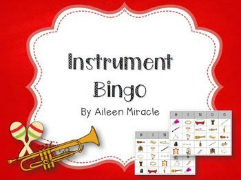 Instrument Bingo--fun activity for students to visually and aurally identify instruments!