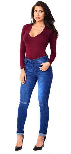 High Waist Knee Cut Cuff Jeans