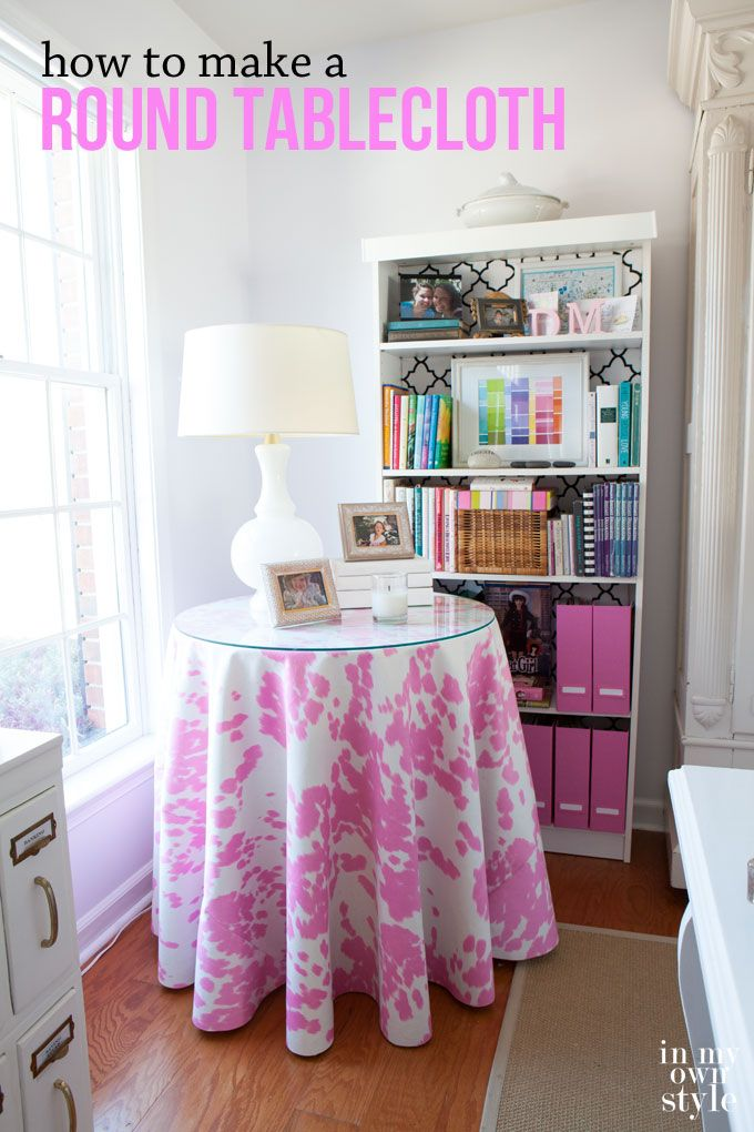 Make a fun tablecloth using pink cowhide for a round table.  It is a great way to create hidden storage and add style to your home decor. In My Own Syle