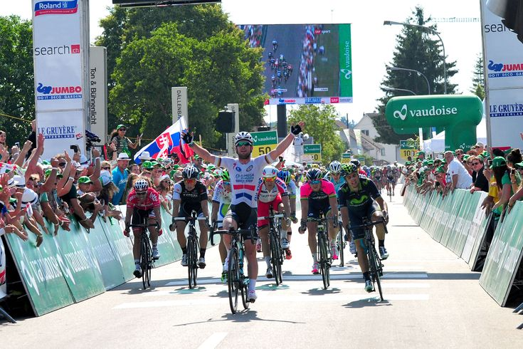 Mark Cavendish sprinted to victory on stage four of the Tour de Suisse as Omega Pharma-Quickstep flexed their muscles ahead of the Tour de France.