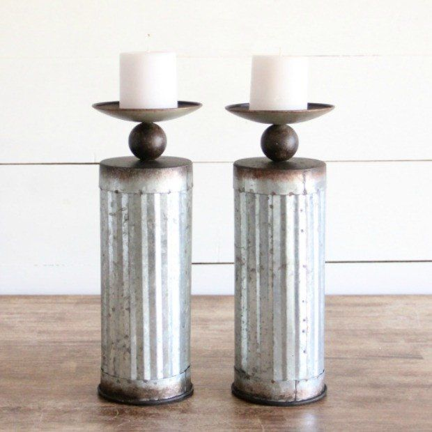 Corrugated Metal Cylinder Pillar Holder