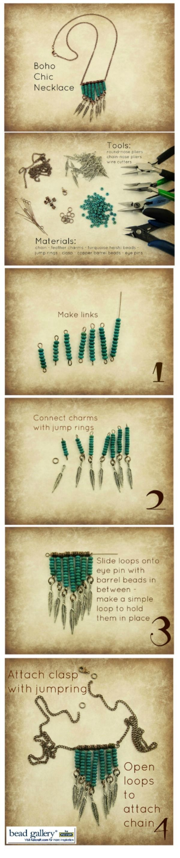 DIY Boho Turquoise Necklace with Feather Charms