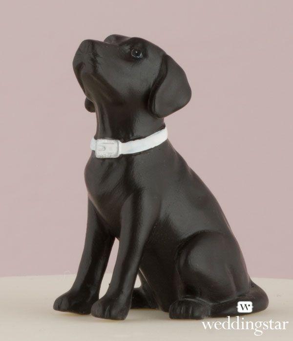 Black Labrador Dog Wedding Cake Topper | Pet Cake Topper http://www.weddingstar.com/product/labrador-dog-figurine {lab, puppy, unique wedding cake topper, figurine, miniature}