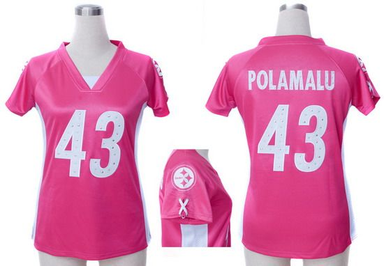 9d3318bb9f6 ... Nike Steelers 43 Troy Polamalu Draft Him Name and Number Top Game Pink Embroidered  Womens NFL ...