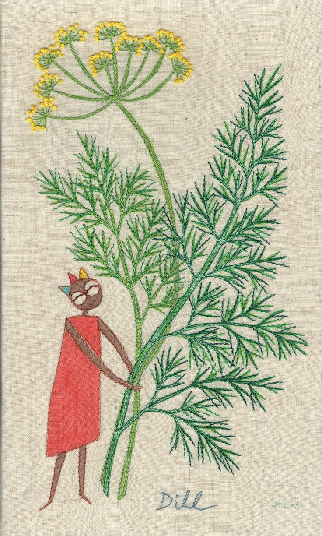 "herb no.7 ""dill"" needlework illustration Ⓒ Nagako Ono HAPPa_Ya #embroidery #herbs"