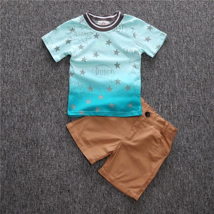 CCS335 Hello Любят детей одежда мальчики устанавливает лето детская одежда устанавливает мальчиков звезда футболка + шорты детская одежда набор купить на AliExpress