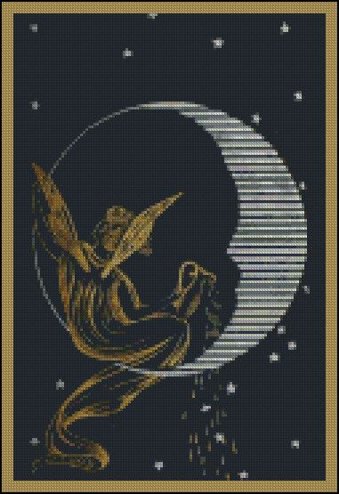 Written In The Stars - Counted Needle Point and Cross Stitch Chart Patterns.: Stitch Sun Moon Star, Cross Stitch Fairies, Stitching Patterns, Cross Stitch Charts, Moon Cross, Cross Stitches, Stitch Patterns