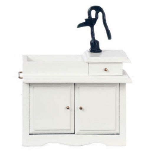 "AZTEC 1"" Scale Dollhouse Miniature Furniture: Wet Sink with Black Pump - White Kitchen Appliance AZT5074"