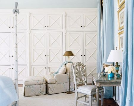 House Beautiful: Love the detailing on the paneled closet doors! White cream paint closet doors.  white ...
