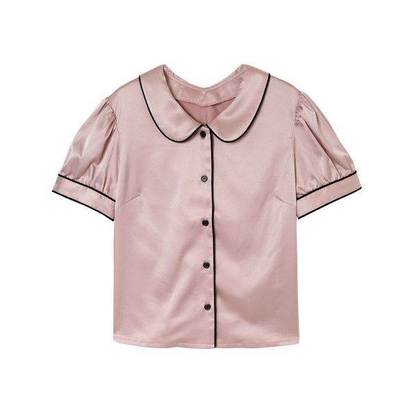 【Melt the lady】パイピングサテンブラウス「BUBBLES ONLINE STORE【バブルス公式通販サイト】」 ❤ liked on Polyvore featuring tops, pink top and bubble top