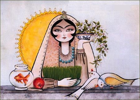 Norooz begins at the vernal equinox, the first day of spring season, a day of rejuvenation and reconciliation, and, reinvigorations and rebirth. Norooz's arrival is symbolized in nature by the sprouting of greens and grains, flowers and trees.