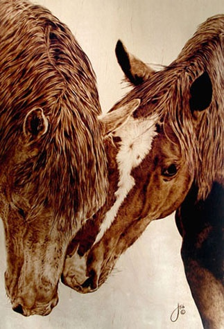 """""""Promise Not to Tell?,"""" Pyrography on maple by artists Julie Bender"""
