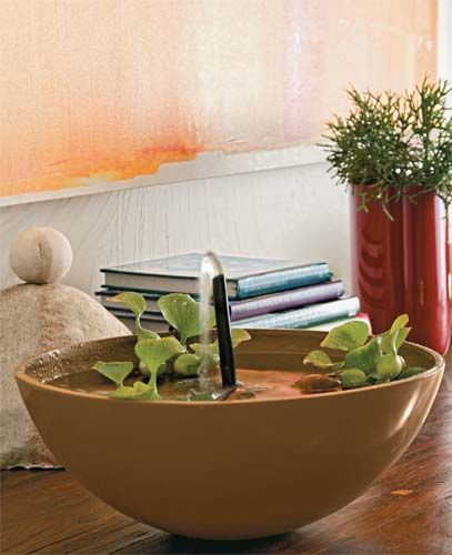 No modelo projetado pelas designers Dani e Camila Fillinger (Verde Vaso), a bica divide as atenções com mudas graciosas de aguapé. Compacta, a peça ora é vista na sala (sempre próximo da janela, do contrário, a planta murcha), ora no jardim. Com PAP.