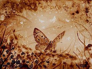"""Кофейный рисунок на бумаге """"Бабочка"""" - Ярмарка Мастеров - ручная работа, handmade"""