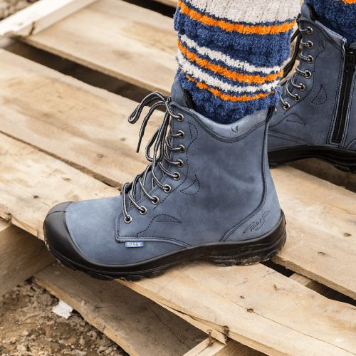 Steel toe work boots for women. Marine (blue) colour. CSA approved.