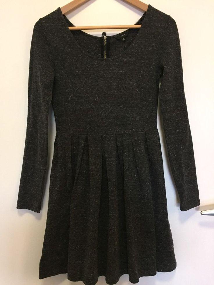 Aritzia Talula Women's Small S Lambeth Gray Dress Long Sleeve Pleated