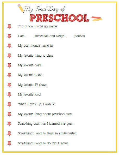 Final Day of Preschool Interview - Click image or link to download - Positively Splendid {Crafts, Sewing, Recipes and Home Decor}
