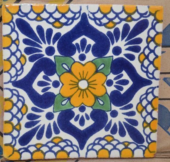90 azulejos mexicanos. Pintados a mano 4x4 por MexicanTiles                                                                                                                                                                                 Más