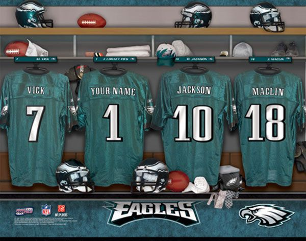Philadelphia Eagles NFL Football - Personalized Locker Room Print / Picture. Have you or someone you know ever dreamed about playing next to your favorite Philadelphia Eagles players. You or someone you know can be right there in the locker room with Philadelphia Eagles players! Optional framing with mat is available. Perfect for gifts, rec room, man cave, office, child's room, etc.   (http://www.oakhousesportsprints.com/philadelphia-eagles-locker-room-print/)