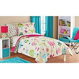 Amazon.com: Owl Life White Pink Green and Blue Owl Bird Cute Kids Twin Bedding Set (5 Piece Bed in a Bag): Home & Kitchen