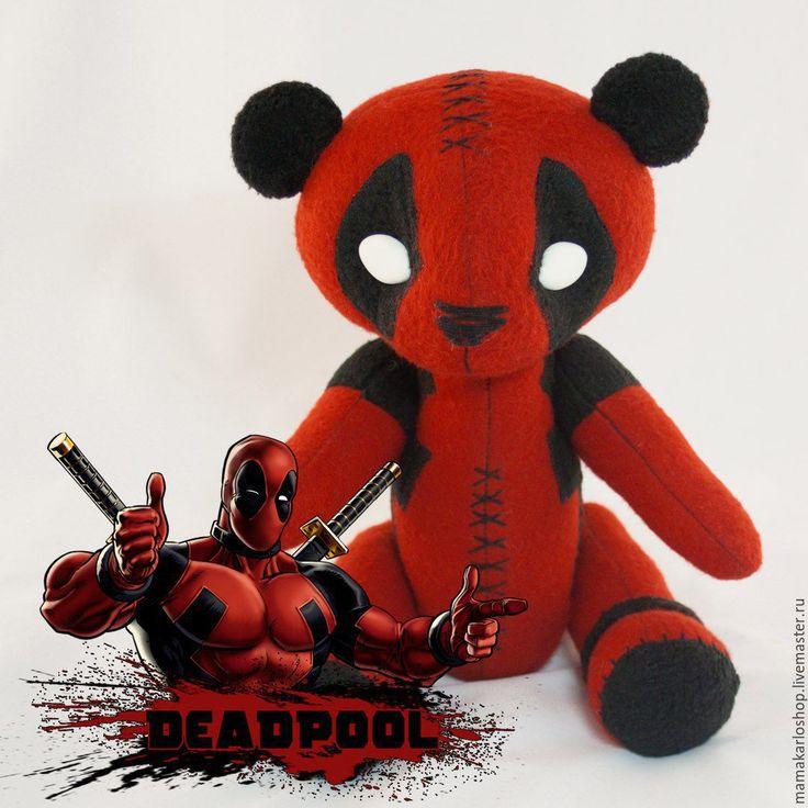Купить Мишка Deadpool - ярко-красный, deadpool, мишка, игрушка ручной работы, мягкая игрушка