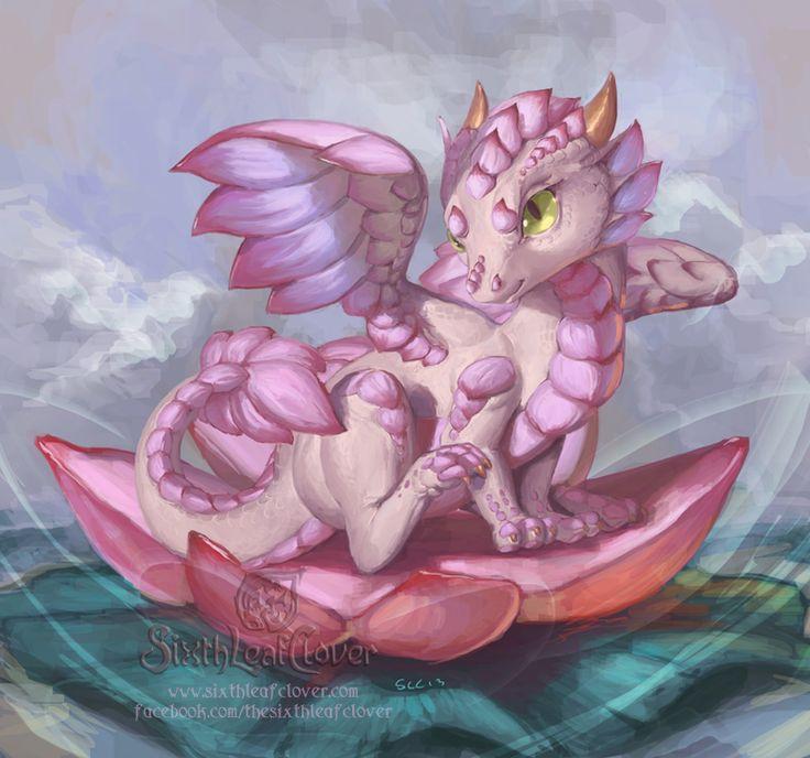 Lotus Dragon Hatchling by The-SixthLeafClover.deviantart.com on @deviantART