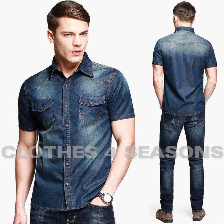 Cheap 2014 nuevos hombres del estilo de moda Denim Shirts camisa de mangas cortas ocasionales alta calidad del verano camisas de mezclilla lavada para hombre vaquero, Compro Calidad Camisas Casuales directamente de los surtidores de China:             material:      algodón          Asiático Tamaño : M- L -XL- XXL            M asiático ( los EEUU XS , 165-1