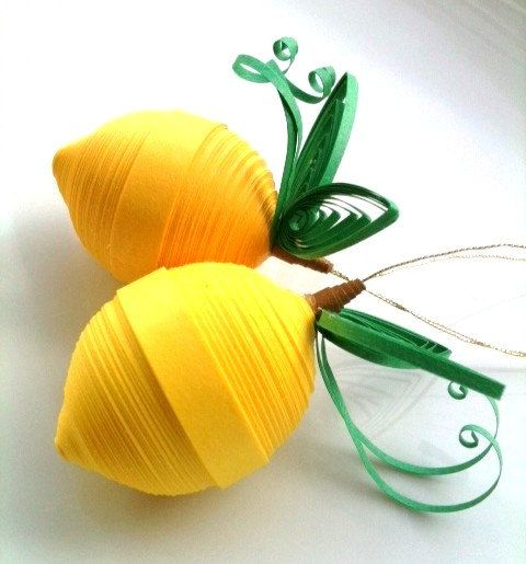 Lemon Yellow Ornaments Paper Quilled by WintergreenDesign - check it out @Judy Denzer