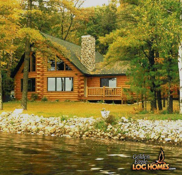 Lake Luxury Log Homes: Custom Eagle Prow IV 1931AL - Lake Side Exterior