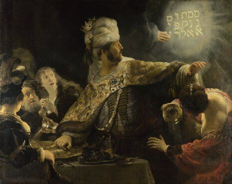 Rembrandt's source for this painting, the Old Testament Book of Daniel (5: 1-6, 25-8), tells of a banquet Belshazzar, King of Babylon, gave for his nobles. At this banquet he blasphemously served wine in the sacred vessels one of his predecessors had looted from the Temple in Jerusalem.  Rembrandt shows the moment when a divine hand appeared and wrote on the wall a phrase only Daniel could decipher. When transliterated the inscription reads: MENE, MENE, TEKEL, UPHARSIN. This is the…