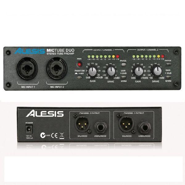 MICTUBE DUO ALESIS preamplificador de micrófono estéreo que otorga la calidez de el sonido de su válvula a cualquier señal incluyendo también a las de línea dando vida y musicalidad a las grabaciones digitales.