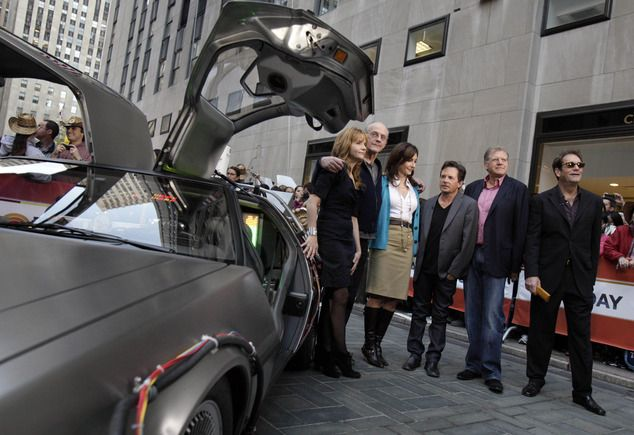 Legal tussle: Texas based company that designs and sells DeLorean-themed products is being sued by John De Lorean's widow for trademark infringement. In this 2010 photo, cast members of the Back to the Future movies appear on the NBC Today show commemorating the 25th anniversary of the franchise